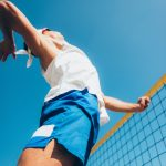 Beach volleyball Player on the Net