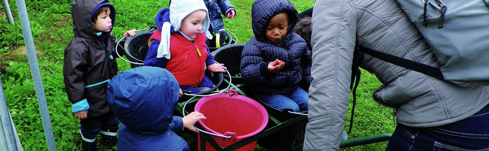 enfants dans une brouette qui mange des légumes